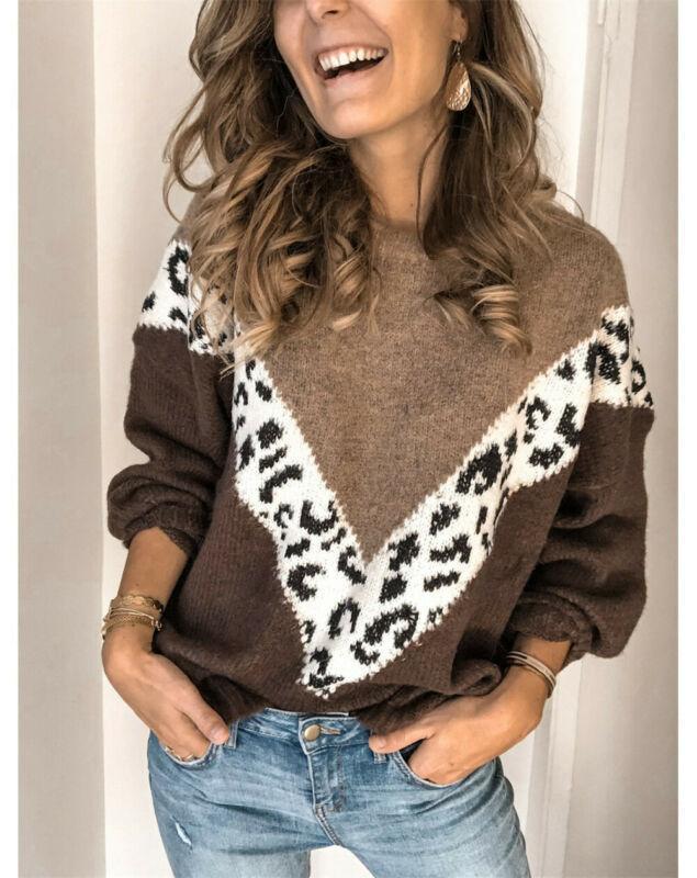 Frauenpullover Frauen Splice Leopard Lose Langarm Strickgefasste Jumper Tops Weibliche Herbst Winter Strickwaren Mode Pullover