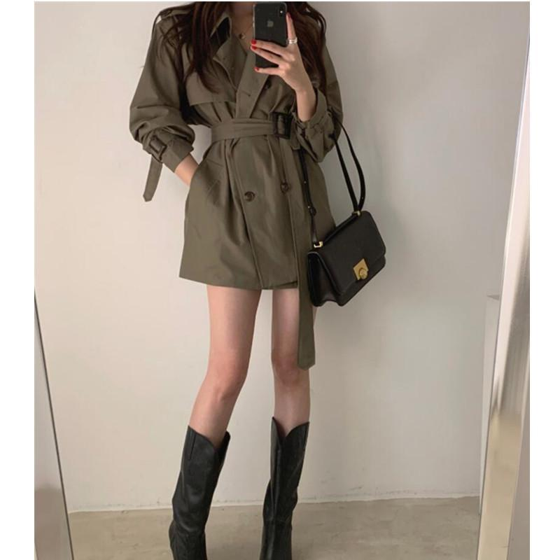 Korea Autumn Women's Trench Coat With Belt Full Sleeve Double Breasted Turn Down Collar Minimalist Pocket Pure Jackets