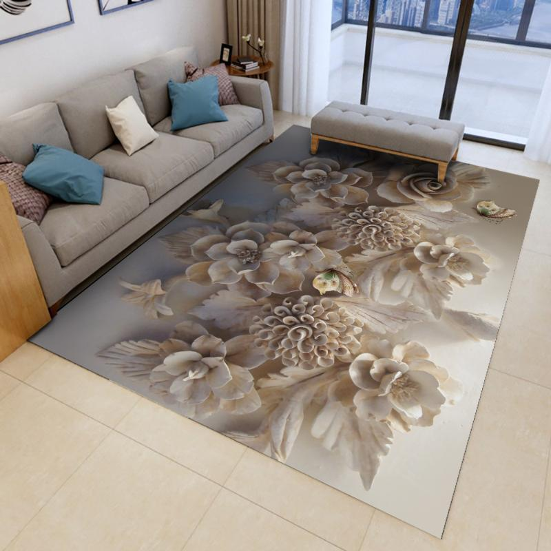 Teppiche Alfombra gedruckt Flanell Bereich Teppich Schmuck Blume Muster Zimmer Boden Teppich für Wohnzimmer Home
