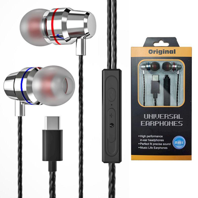 USB Type-C Auricolari Stereo Bass Cuffie con microfono Tipo C Cuffie USB-C Auricolari USB-C per Xiaomi MI 9 10 Huawei P40 Mate 40 Pro