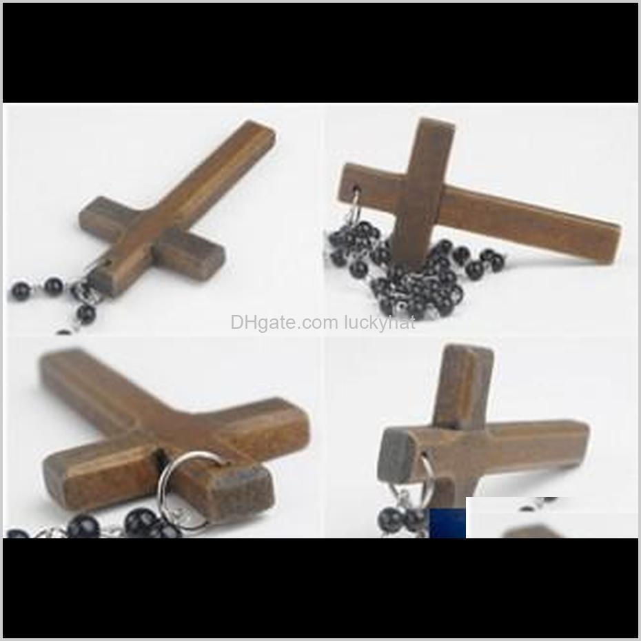 Collares con cuentas Promoción Moda Madera Larga Beads Negro Suéter Collar de cadena de madera Hecho de madera Colgante cruzado 9ldcb Grkul