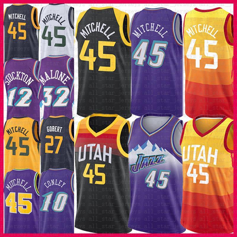 "Männer Donovan 45 Mitchell Basketball Jersey Rudy 27 Gobert Mike 10 Conley John 12 Stockton Utah ""Jazz"" 2021 Neue Karl 32 Malone"