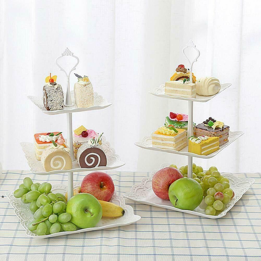 3 уровня пластиковых торт стенд послеобеденный чай свадебные плиты партии столовые посуды, выпечки торт магазин три слоя торт стойки хранения лоток HHD6068