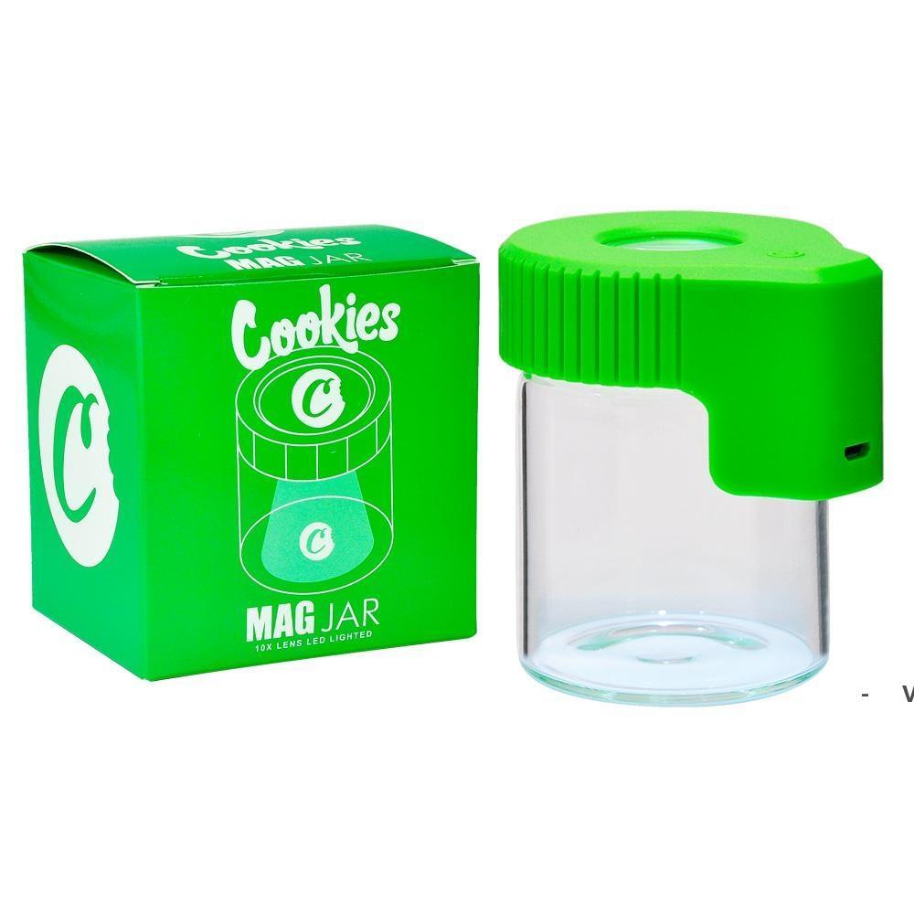 LED 돋보기 숨기기 항아리 쿠키 MAG Magnify Viewing Container Glass Storage Box USB 충전식 라이트 냄새가 oWB6438