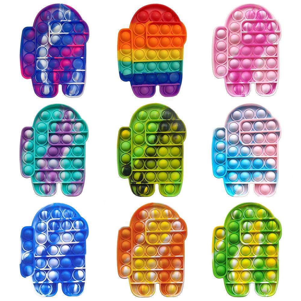 بوب تململ ريلفيد الإجهاد اللعب rainbow دفع تكنولوجيا المعلومات فقاعة غير مؤخرات الأطفال الكبار لعبة الحسية لتخفيف مرض التوحد