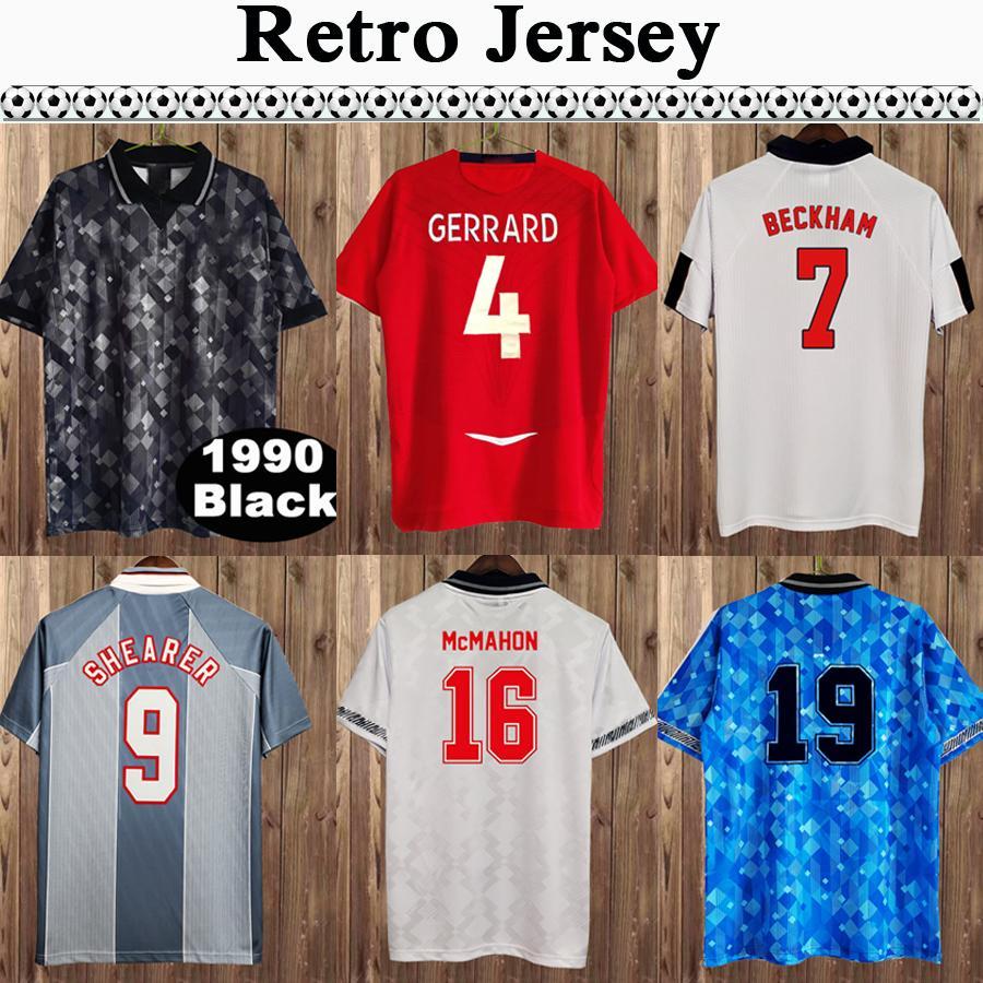 1980 Keegan Retro Hommes Jerseys Soccerys Beckham Owen Scholes Sheareer Neville Sheringham Gascoiigne Home Shirt de football Home Sleeve Uniforms