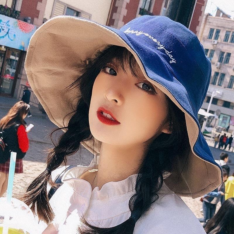 Chapéu de balde 2021 Chapéu do pescador Primavera das mulheres e verão carta de moda bordados personalizados Bacia do sol
