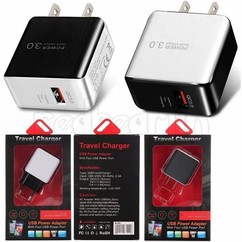 QC 3.0 شاحن الجدار السريع USB شحن سريع الولايات المتحدة توصيل الاتحاد الأوروبي ل iPhone X Samsung S10 S9