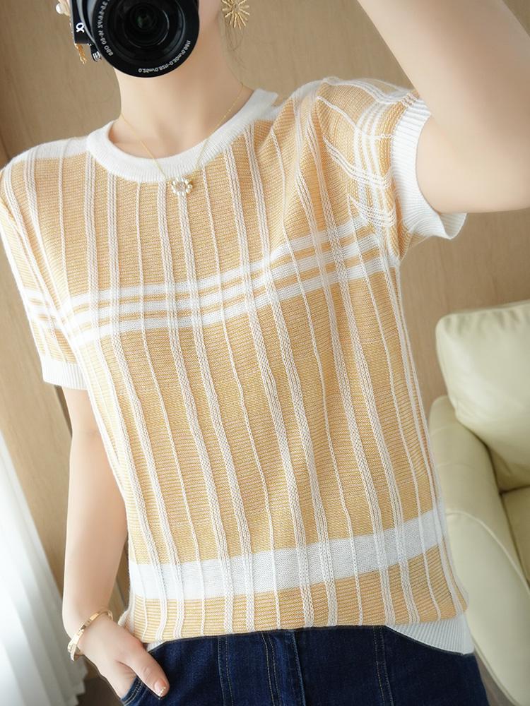 ZoCect летние женские уплотнительные шеи свитер с коротким рукавом топы женские вскользь шерсть смешанные футболки вязаные свободные цветные полосатые пуловеры