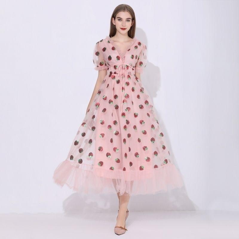 Sequins Strawberry Dress Women Elegant Long Dress V Neck Puff Sleeve Mesh Sexy Party Dresses Vintage Floral Dress Women Robe 210324