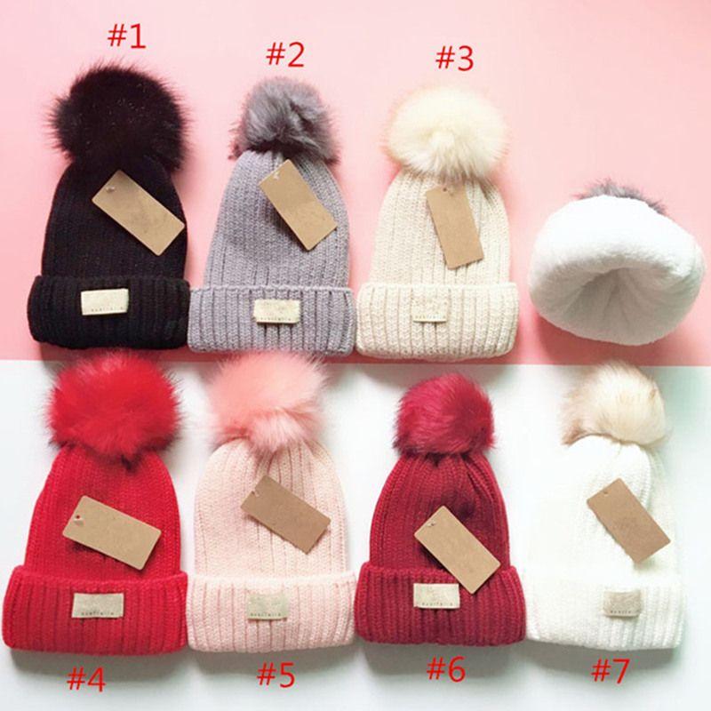 Wintergestrickte Hüte Australien Design Pompon Fleece Mützen Frauen Mädchen Schädelkappen Motorhaube draußen Warme Häkeln Hut Stricken Beanie Ohr Muff
