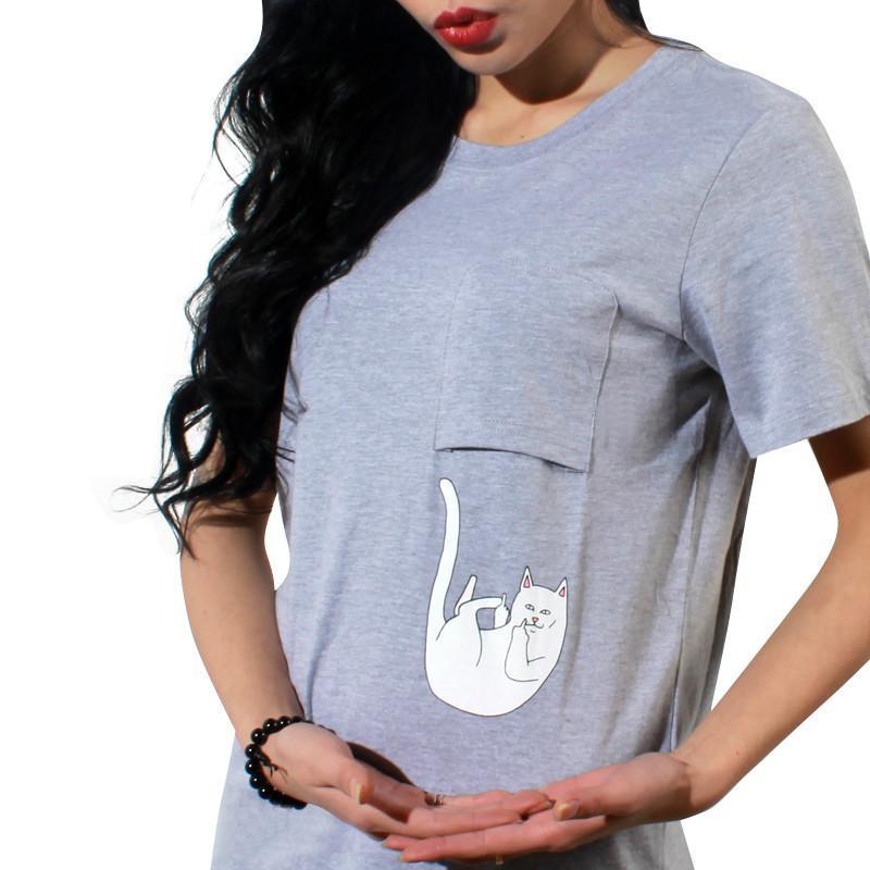Damen T-Shirt Mode Tasche Katze Cartoon Druck Damen T-Shirts Casual Top Tees Kurzarm Oansatz Feste Slim T-Shirt NV30-R3