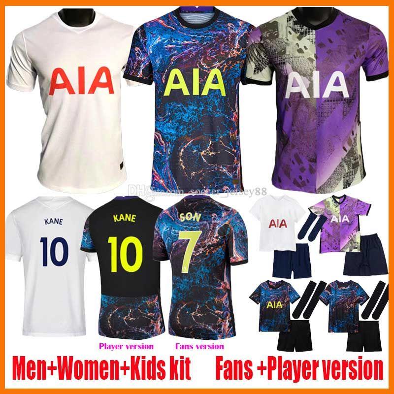 21 22 Bale Kane Soccer Jerseys Player Dele Son Ndombele Hojbjerg Lo Celso Spurs 2021 2022 Home Away 3rd Camiseta de Futebol Kit Kit Tottenham Football Shirts