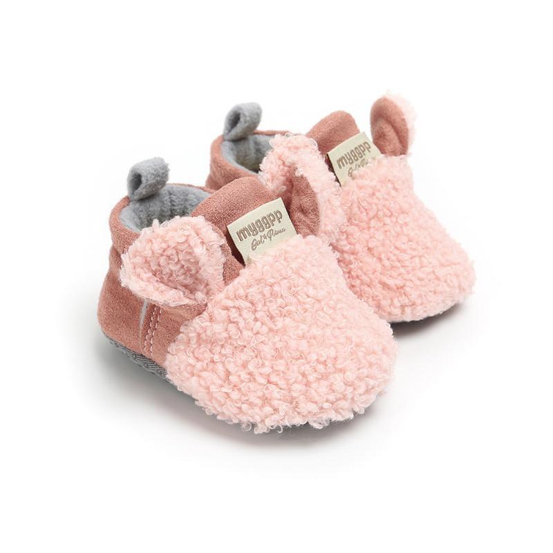 أول مشوا الشتاء الصوف الدافئ القطن الأحذية الوحيدة الناعمة الانزلاق على تصميم الأغنام لطيف ووكر