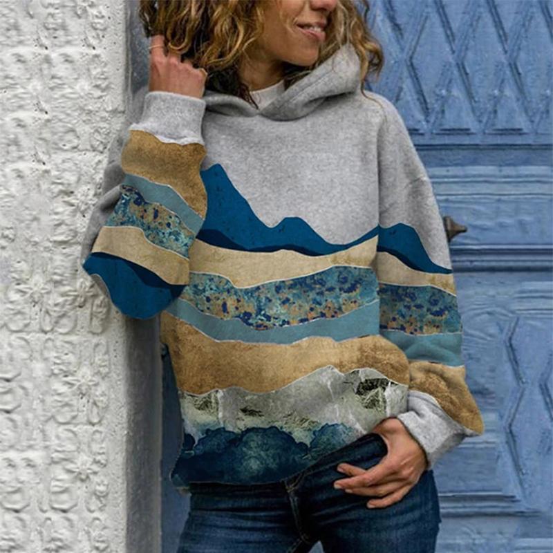 Hoodies das mulheres camisolas @ mulheres outono inverno grosso casaco quente plus tamanho montanha impresso pulôver manga longa camisola tops oversize