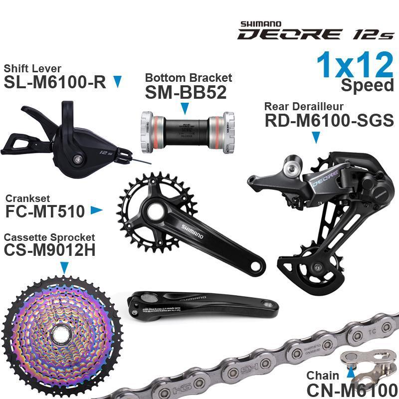 دراجة derailleurs deore m6100 12speed groupset مع شيفتر سلسلة الخلفية MT510 crankset قوس أسفل القوس و 11-50T كاسيت ملون spr