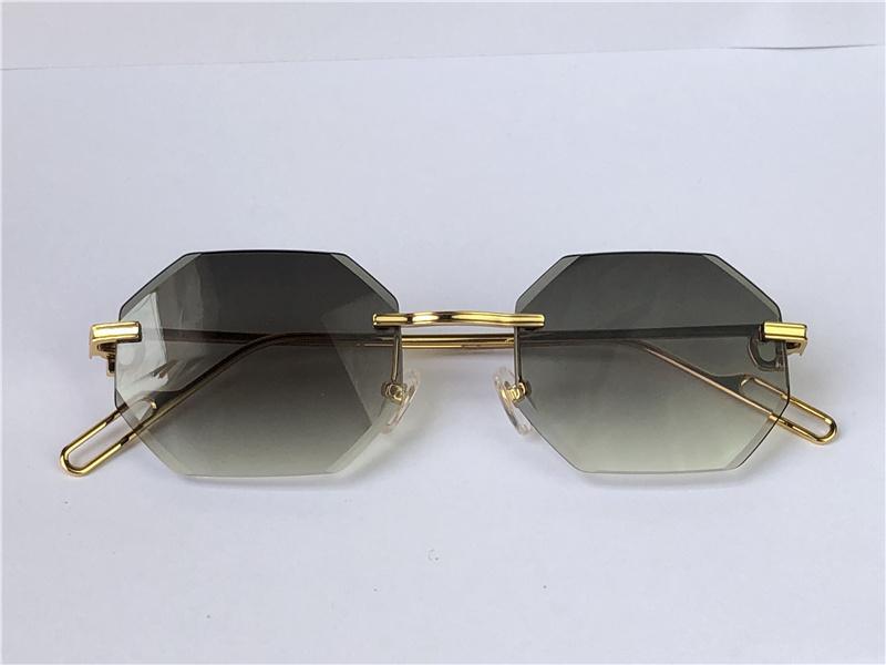 Occhiali da sole Occhiali da sole Vintage Piccadilly Irregolare Diamante Rimless Diamante Lente retrò Avant-Garde UV400 Diagramma di colore Light Color Decorazione Summer Shape 0116 con scatola