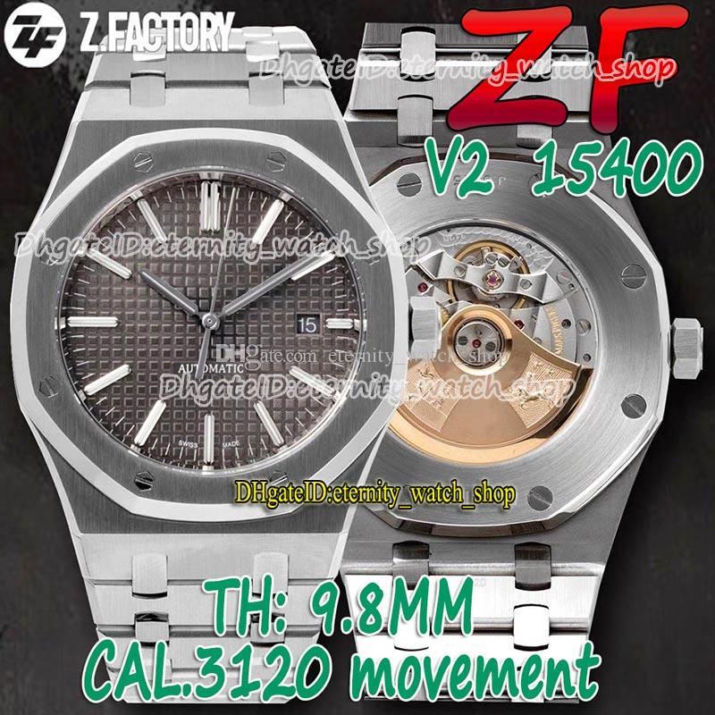 Eternity Relógios ZFF V2 Última versão 41mm 15400 Textura cinza Dial Cal.3120 ZF3120 Mens Automático Assista Sapphire 904L Caso de Aço Inoxidável Pulseira 001044