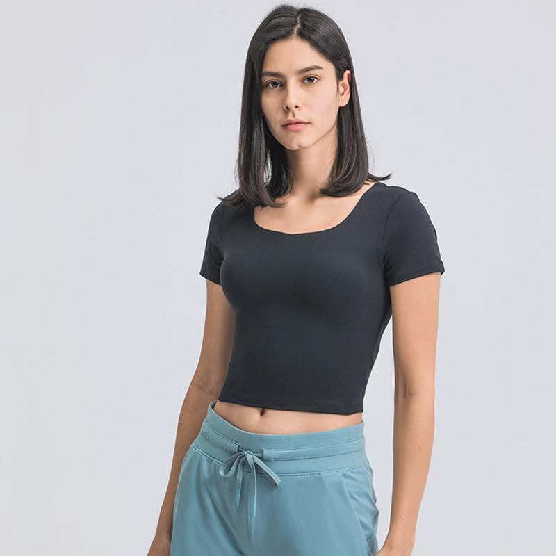 Fitted prateleira sutiã esporte mulheres fitness colheita top manga curta yoga camisa cortada t - shirts ginásio de verão sportswear treino