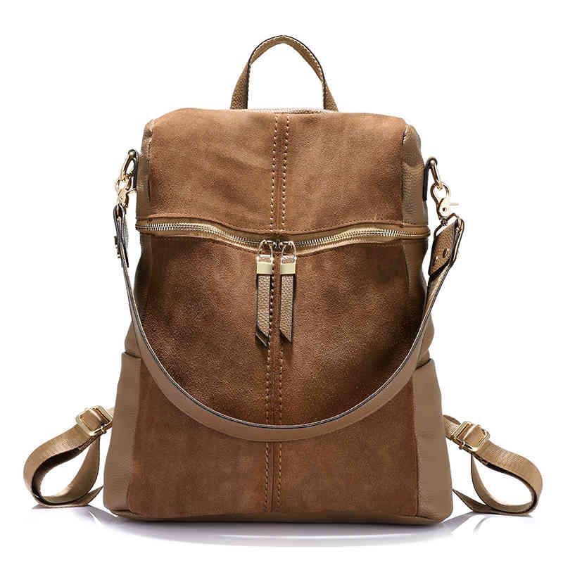 Рюкзак винтажный бренд Nubuck кожа PU школьника девочек-подростки большая емкость плеча для женщин