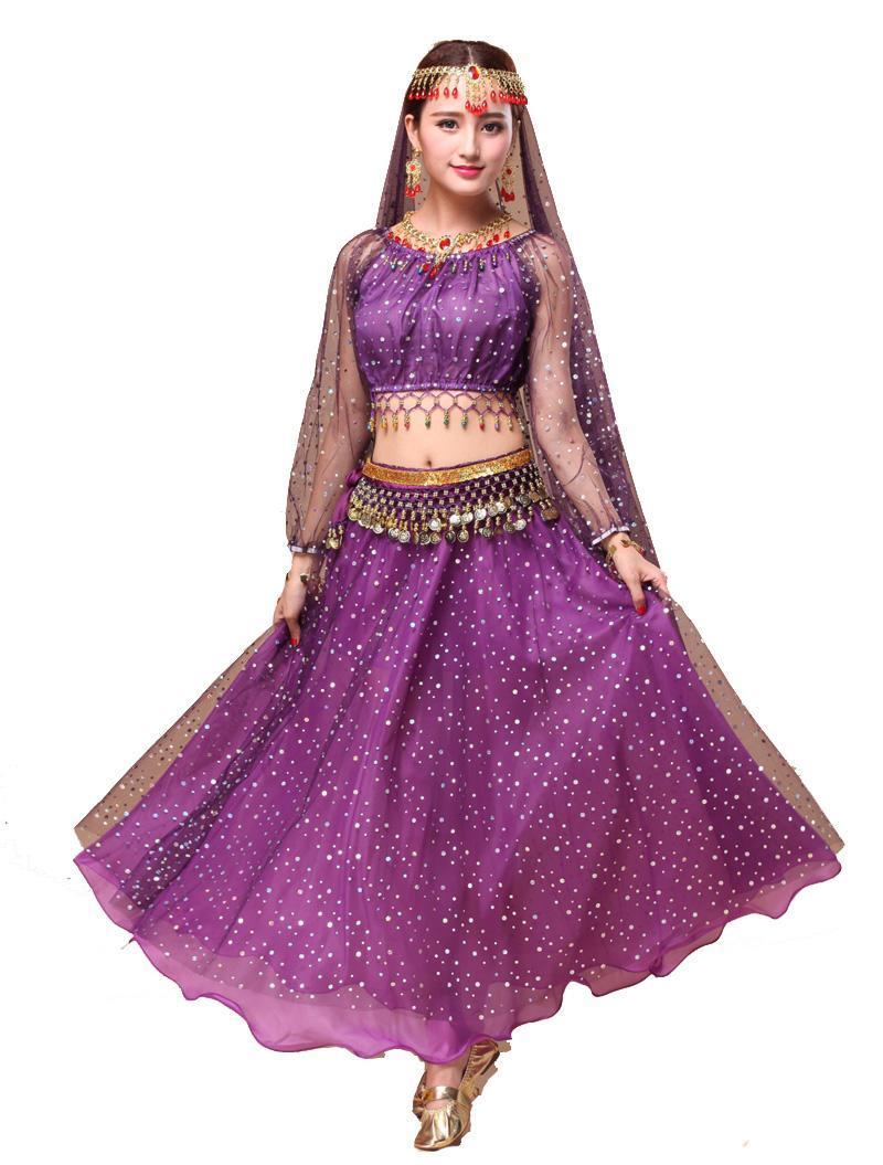 Costume da ballo del ventre performing Dancewear Bollywood Bellydance Dress Hip Scraf Set Chiffon Top + Gonna + Belt Belt Wear