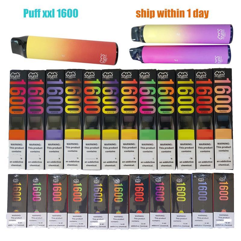 Puff XXL 1600 puffs descartáveis vape e cigarro com dispositivo de código de arranhão starter kits vaporizador pré-preenchido