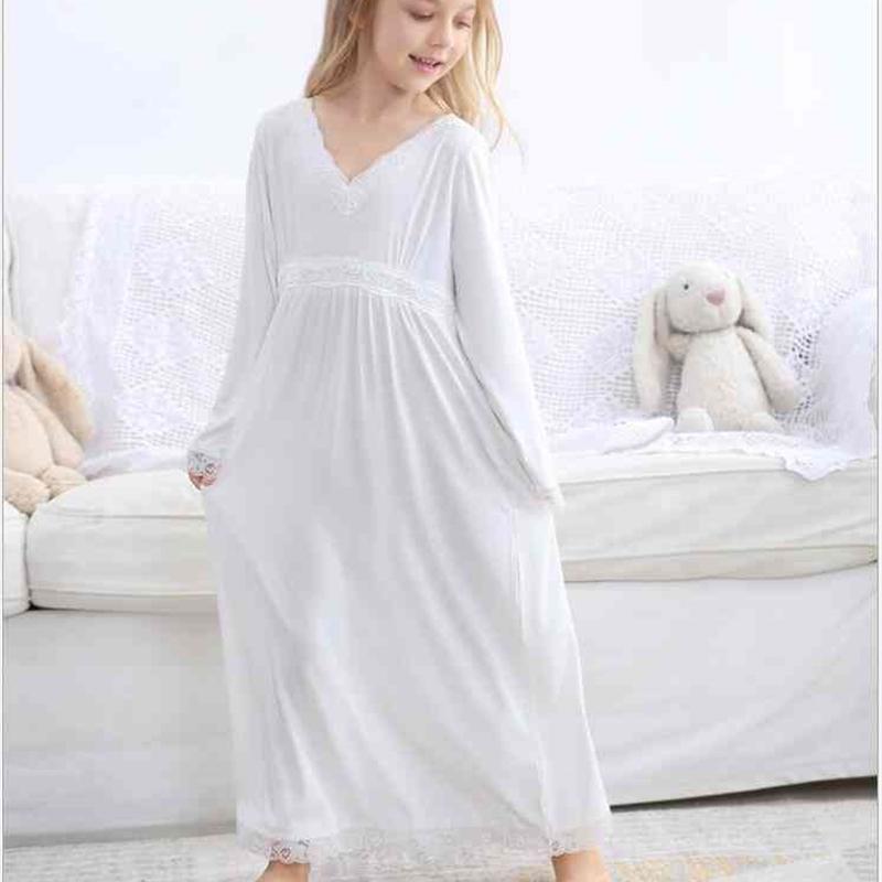 Nachtwäsche Baby Mädchen Kleidung Pyjamas Herbst Mädchen Nachtwäsche Weiße Spitze langes Kleinkind Nachthemd Europäische Nette Kinder Pyjama Kleid