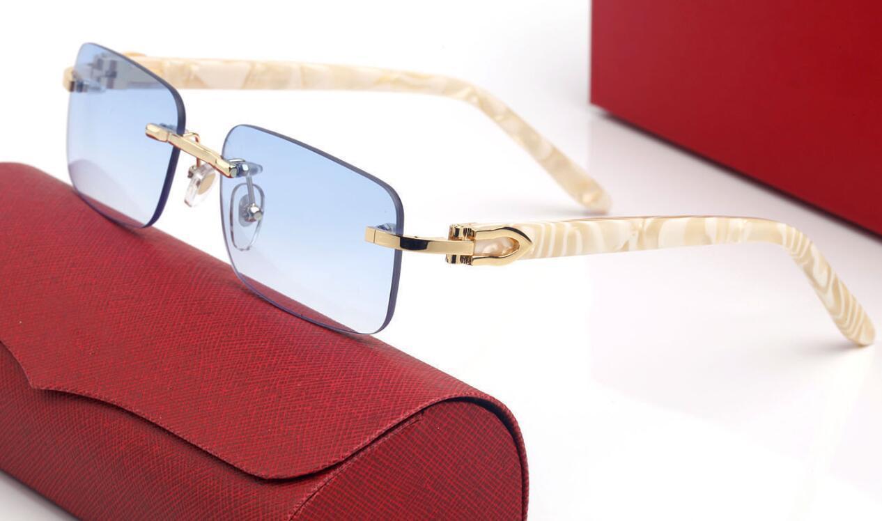 خمر نمط نظارات شمسية بلانك الخشب أبيض وأسود الجاموس القرن بدون شفة الذكور الإناث نظارات للجنسين أزياء الرجال النساء فرملس نظارات الظل مع القضية