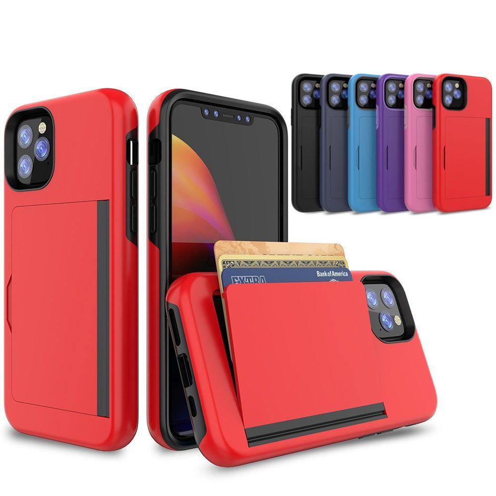 카드 슬롯 하이브리드 충격 방지 캔디 캔디 컬러 케이스 아이폰 11 12 x xs 7 8 플러스 맥스 6 케이스 플립 ARMOR 신용 카드 슬롯 커버