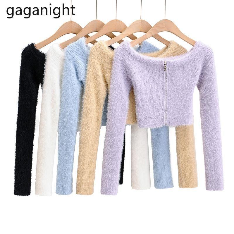 Gaganight Sexy Frauen Pullover Langarm Große O Neck Fluzzy Gemütliches Kardigan Solid Fashon Büro Dame Cropped Pullover Slim Koreanische Frauen