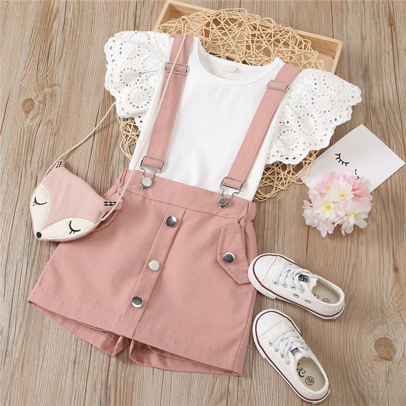 Summer Elegant Suit Kids Girls Baby Clothes Sets Short Sleeve T-Shirt+Skirt Pattern Funny Cool Casual Birthday Party Size 2-6T 210427