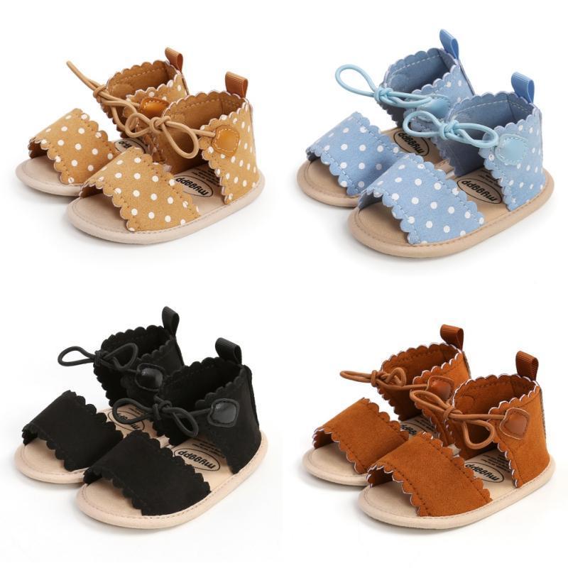 폴카 도트 레이스 업 소프트 유일한 아기 샌들 여름 미끄럼 방지 워킹 신발 태어난 첫 번째 워커 0-18m
