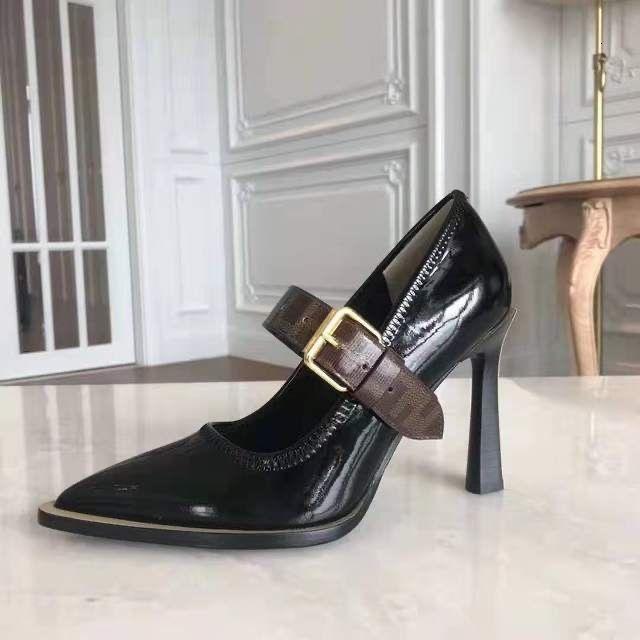 드레스 신발 패션 여성 펌프 정품 가죽 하이힐 10cm Zapatos Mujer 뾰족한 발가락 숙녀 파티 발목 스트랩 펌프 S Teis