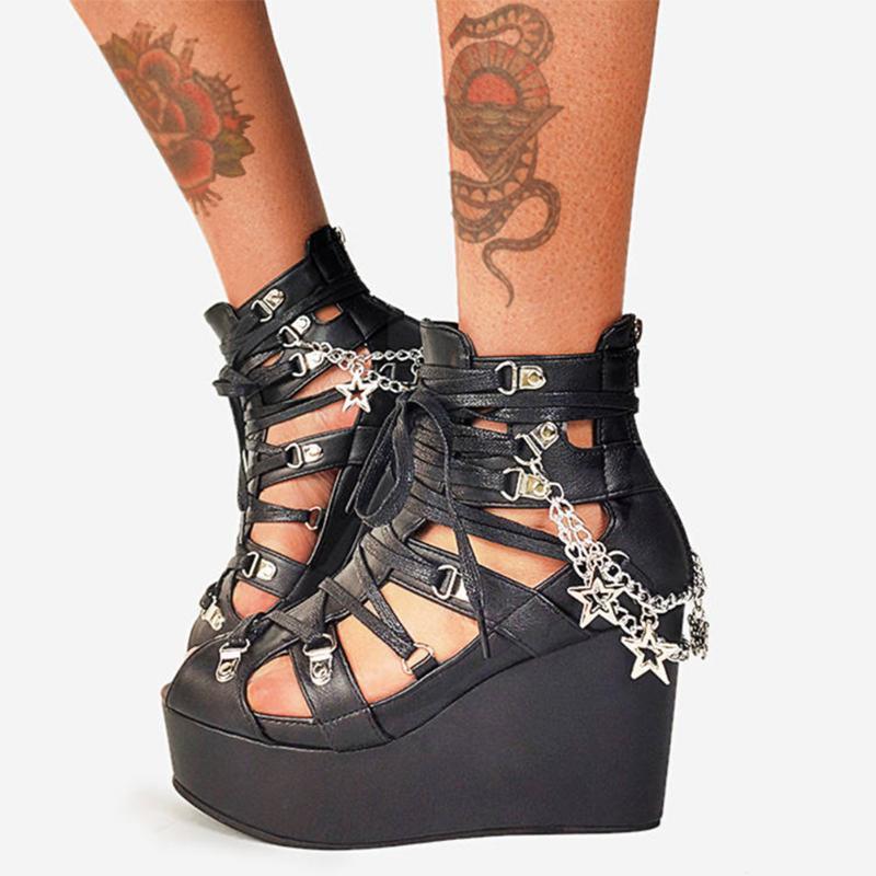 Trendy Marke Punk Goth Platform Peep Toe Reißverschluss Metal Kette Frauen Sandalen Hohe Keile Pentagramm Open Summer Damen Schuhe