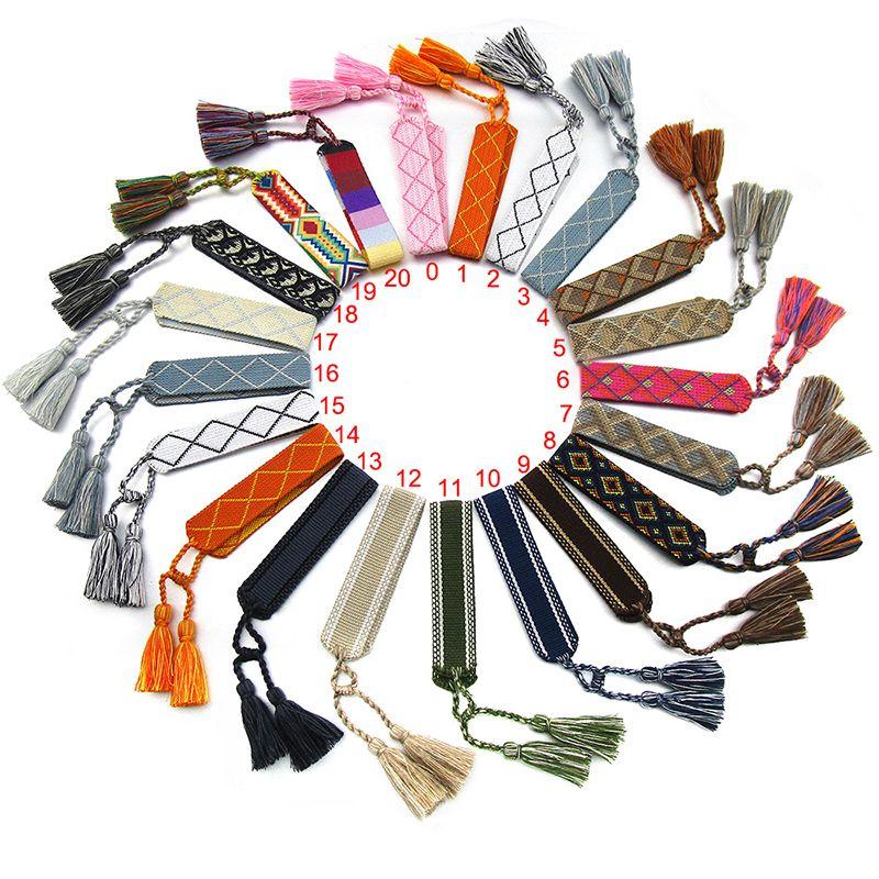 Bohemia bordado logotipo tecido braceletes de borla para mulheres feitos artesanais corda ajustável trançada pulseira amizade étnica natal presentes
