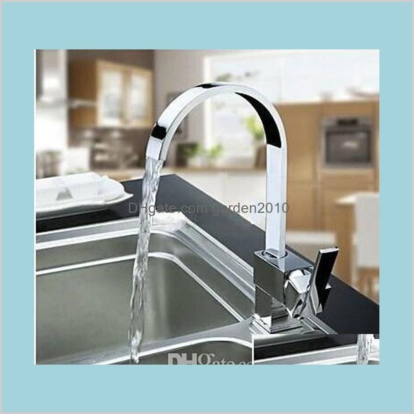 Kitchen Faucets Faucets, Showers & Accs Home Garden Wholesale Solid Chrome Multi-Function Swivel Spout Sinks Faucet Mixer Tap 4 Double