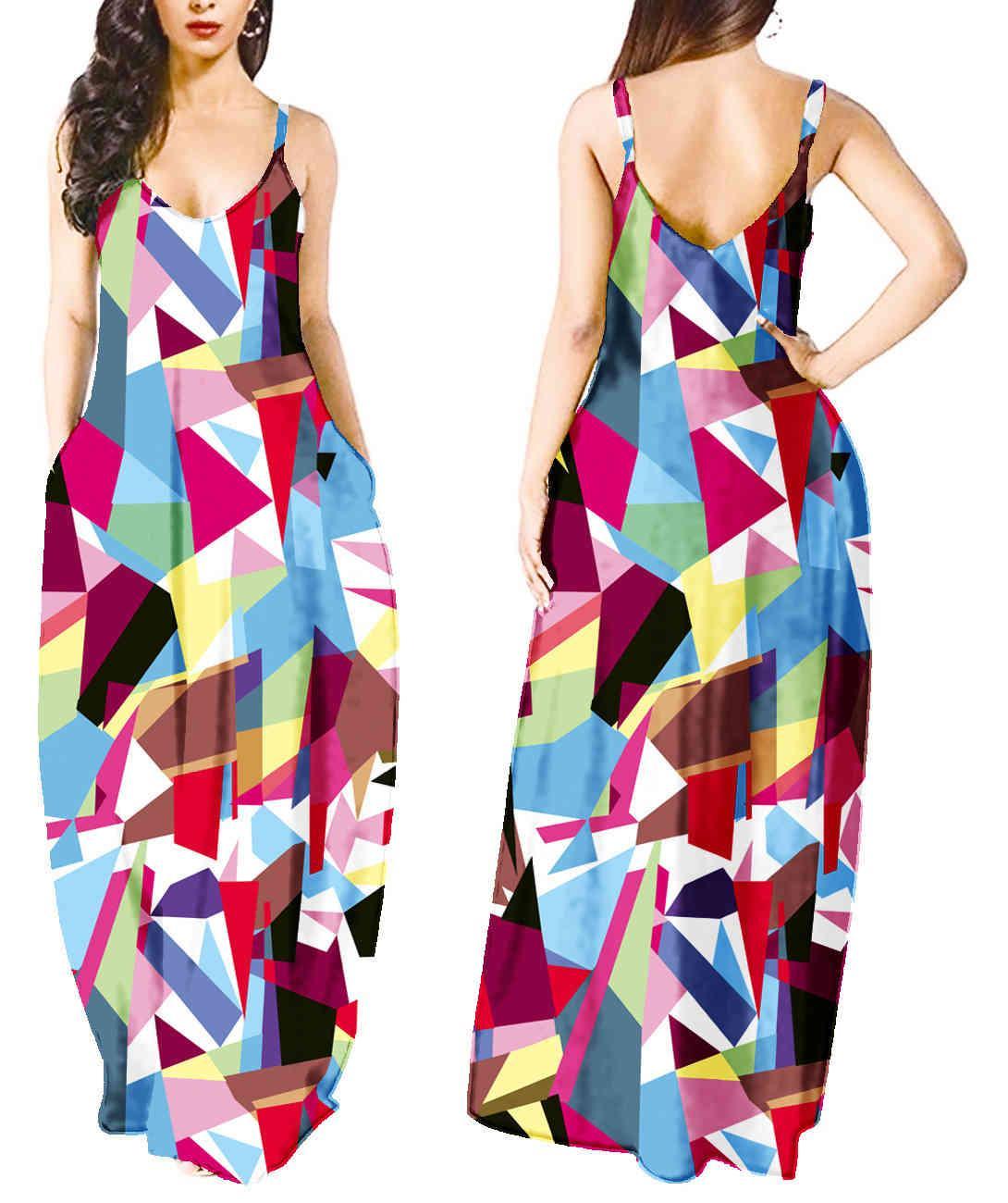 Vestido de moda verano grande sin mangas sin mangas en V