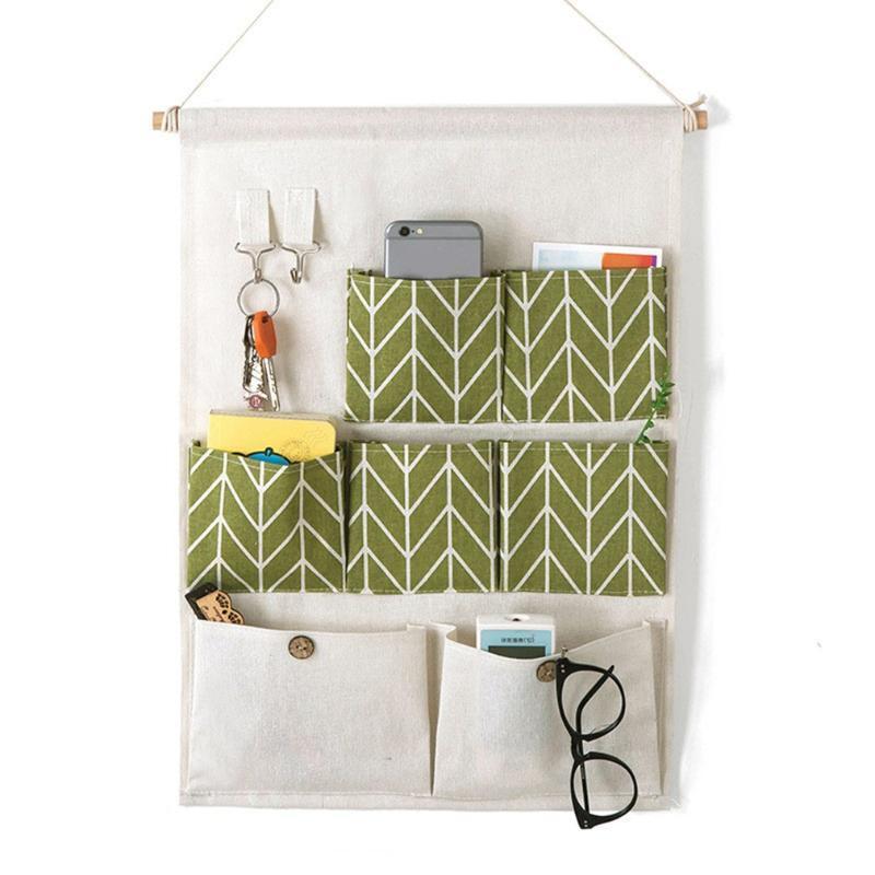 Hängende Körbe Kreative Wasserdichte Baumwolle Leinen Wand Aufbewahrungstasche 7 Taschen Organizer Trümmer für Schlafzimmer Badezimmer