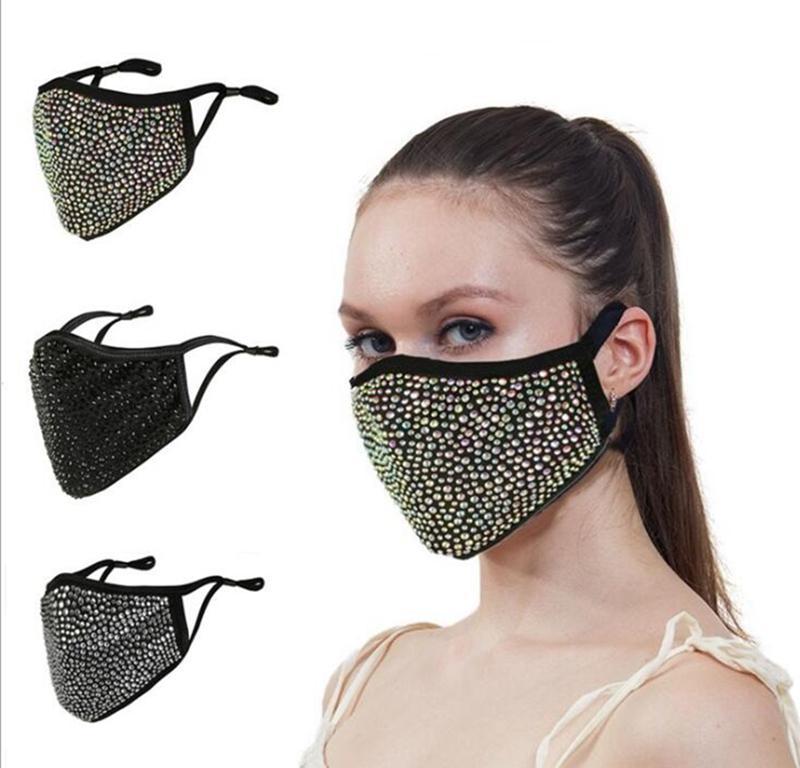 여성 패션 블링 블링 다이아몬드 방진 보호 마스크 PM2.5 입 세척 가능한 재사용 가능한 다채로운 모조 다이아몬드 얼굴 마스크 JJA24