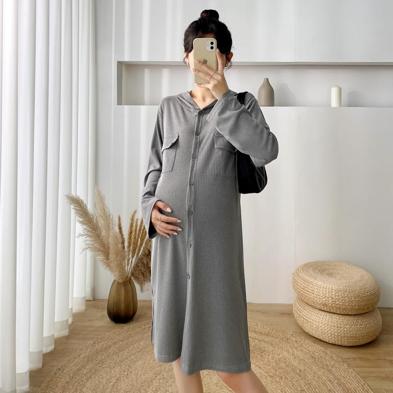 Maternity Dresses 6177# Autumn Winter Thicken Hoodies Dress Casual Straight Long Sleeve Clothes For Pregnant Women Pregnancy Clothing