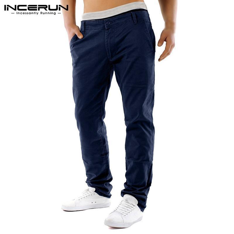 패션 캐주얼 바지 남자 단색 컬러 버튼 레저 스트레이트 바지 Streetwear 긴 Pantalones Hombre 2021 남자