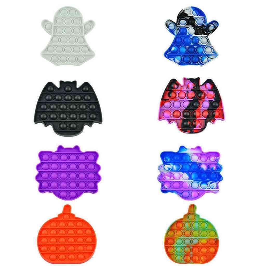 Halloween Pionero Pionero Ghost Calabaza Poppers Fidget Toys Push Bubble Puzzle Boet Rainbow Finger Ansiedad Estrés Relevante Discompression Toy G86Twad