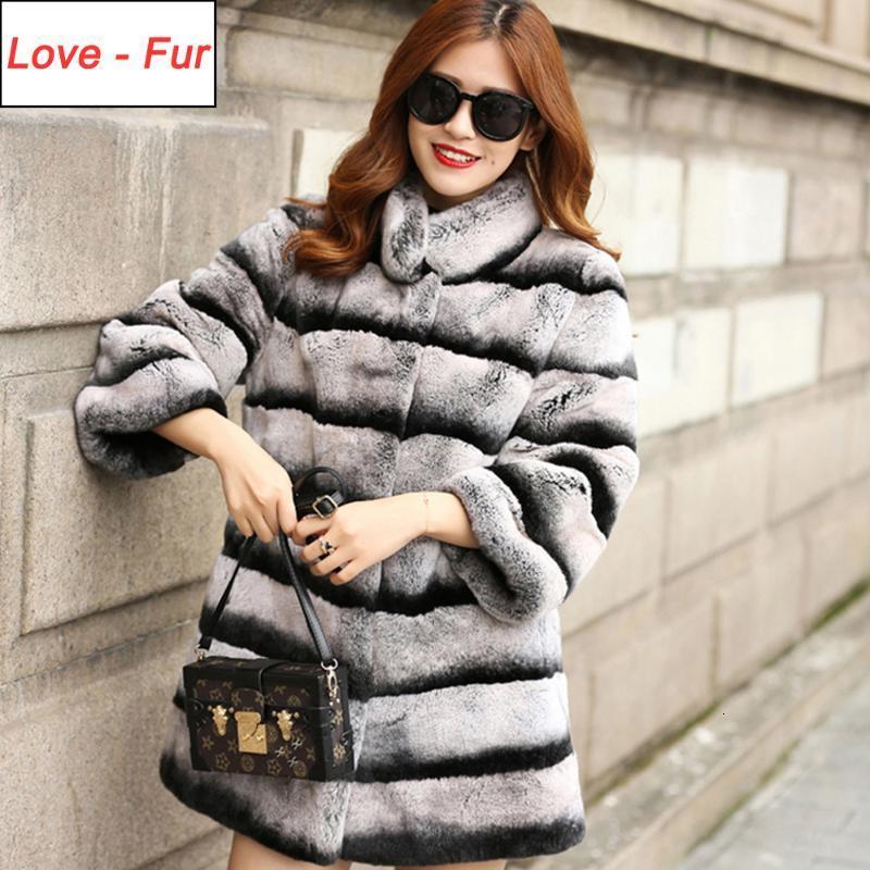 2020 Cappotti di pelliccia reale di stile lungo 2020 Donne Real Natural Rex Cappotto di pelliccia Inverno di alta qualità 100% GUARDINA GIACCA REX