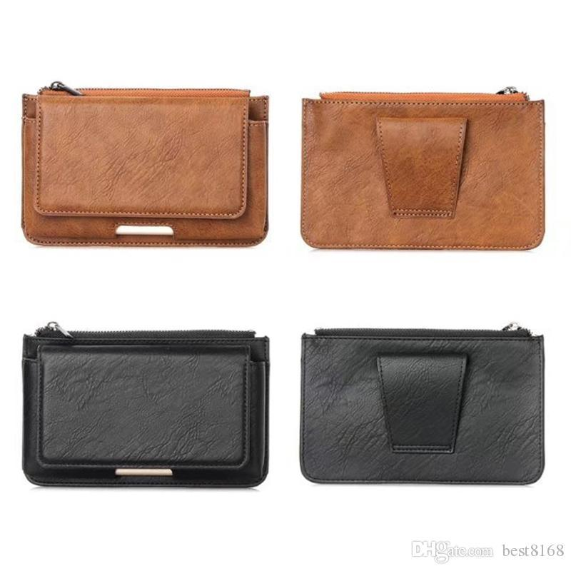 Universal 5.5inch Horizontal Waist Hip Leather Cases For Iphone 12 11 XR X 10 8 7 Plus 6 6S 5 5S Galaxy s20 S9 S8 S7 Holster Flip PU Belt Men Business Mobile Phone Pouch