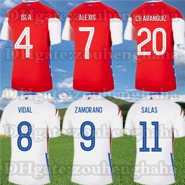 20 21 칠레 국립 축구 팀 축구 유니폼 2020 2021 Alexis Vidal 홈 멀리 축구 셔츠