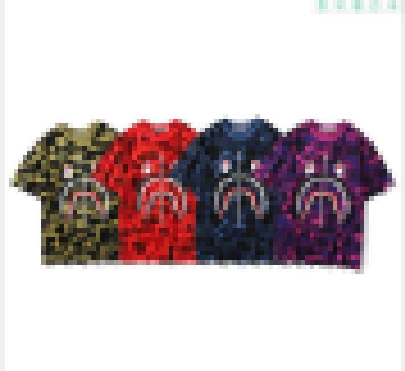 새로운 목욕 원숭이 색상 카모 상어 티 라운드 넥 티셔츠