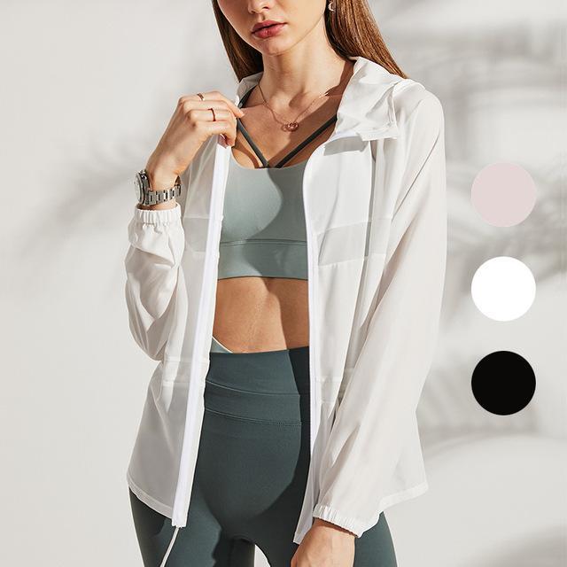 Giacca da sole Protezione da sole Summer Skin Abbigliamento Ultra-sottile Traspirante Esterno Sport da yoga fitness fitness in corsa