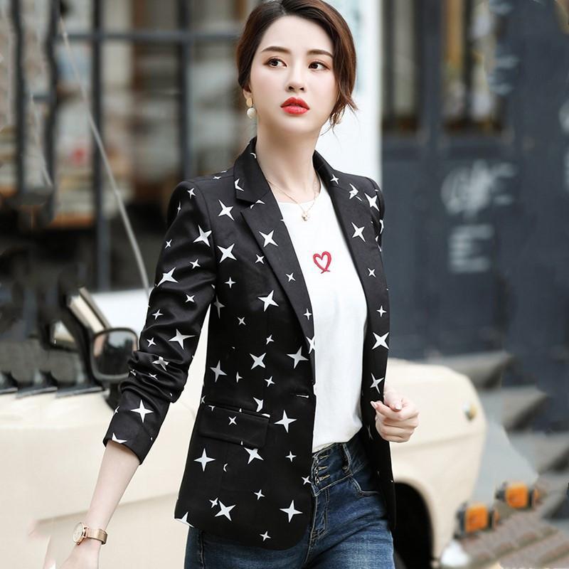 Fashion Casual Women's Printing Elegant Ladies Office Uniform Style Suit Jacket 2021 Autumn Temperament Professional Small Suits & Blazers
