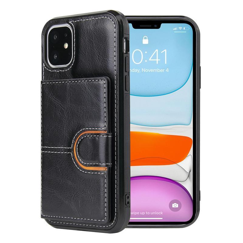 Para iPhone 13 12 Pro MAX 11 XS XR XR X 7 8 PLUS CASOS DE TELÉFONO DE CUERO DE CUERPO DE LA MONTAJE Tapa del soporte de la cartera con la ranura de la tarjeta