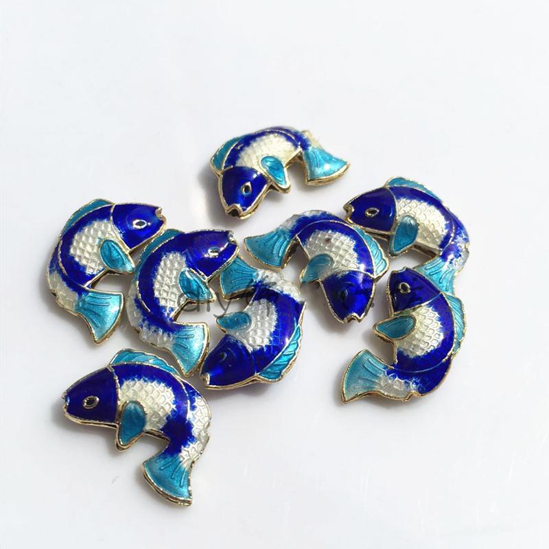 Handmade cloisonne colorato pesce allentato perline smalto filigrana accessori rame di rame fai da te gioielli fornitore collana orecchini bracciali 200pcs / lot